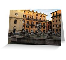 Piazza Navona with Fontana del Moro in Rome Greeting Card