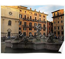 Piazza Navona with Fontana del Moro in Rome Poster