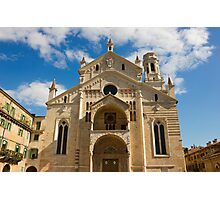 Verona Cathedral facade over blue sky with white clouds Photographic Print