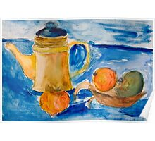 Still life with kettle and apples aquarelle Poster