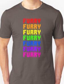 Rainbow Furry Pride Text Unisex T-Shirt