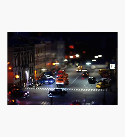 crosswalk at night Photographic Print