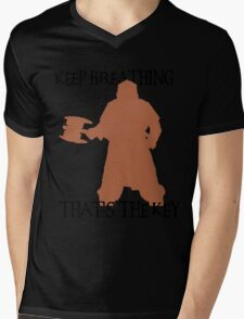 Gimli: Keep breathing, that's the key Mens V-Neck T-Shirt