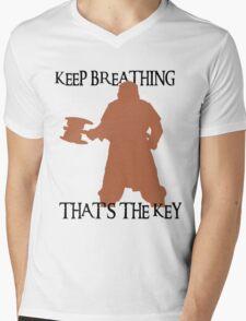 Gimli: Keep breathing, that's the key Mens V-Neck T-Shirt