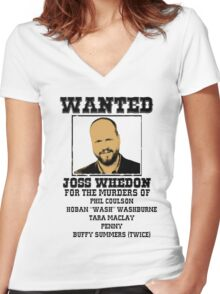Joss Whedon: wanted Women's Fitted V-Neck T-Shirt