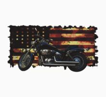 Cool Union Flag, Stars and Stripes, Motorcycle by Val  Brackenridge