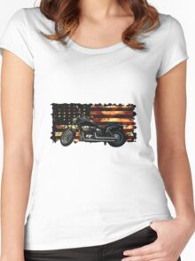 Cool Union Flag, Stars and Stripes, Motorcycle Women's Fitted Scoop T-Shirt