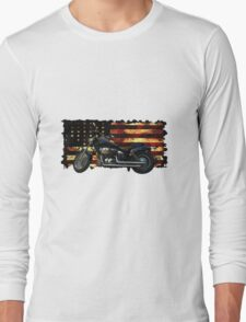 Cool Union Flag, Stars and Stripes, Motorcycle Long Sleeve T-Shirt