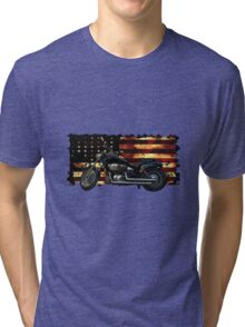 Cool Union Flag, Stars and Stripes, Motorcycle Tri-blend T-Shirt