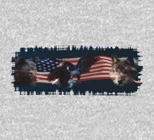 Eagles, Bear, Wolf, American Flag US Patriotic Kids Tee