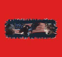 Eagles, Bear, Wolf, American Flag US Patriotic One Piece - Short Sleeve
