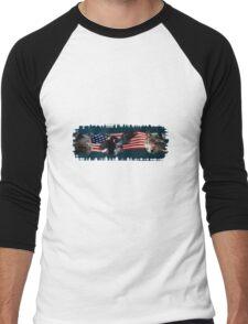Eagles, Bear, Wolf, American Flag US Patriotic Men's Baseball ¾ T-Shirt