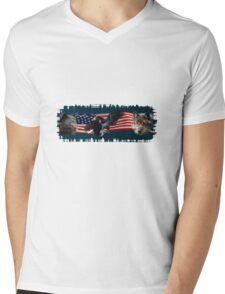 Eagles, Bear, Wolf, American Flag US Patriotic Mens V-Neck T-Shirt