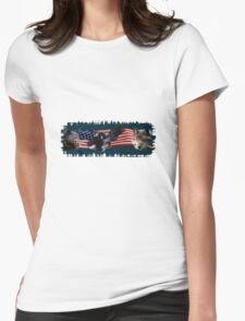 Eagles, Bear, Wolf, American Flag US Patriotic Womens Fitted T-Shirt