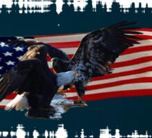 Eagles, Bear, Wolf, American Flag US Patriotic Sticker