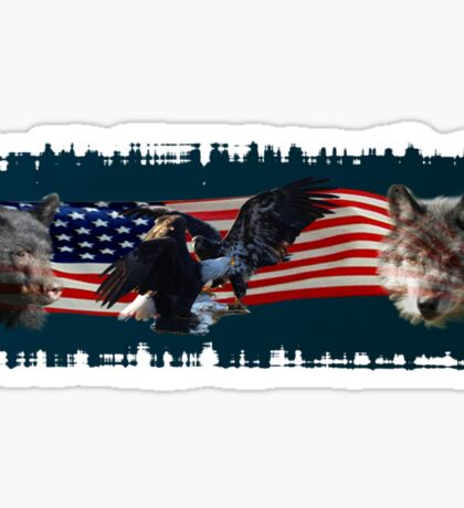 Eagles, Bear, Wolf, American Flag US Patriotic Sticker