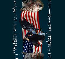 Eagles, Bear, Wolf, American Flag US Patriotic by Val  Brackenridge