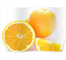 Whole and Half Orange on White Poster