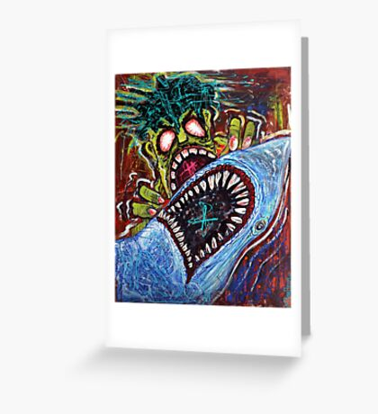 Zombie Shark Fight Greeting Card