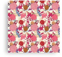 Girly Retro Floral Pattern Canvas Print