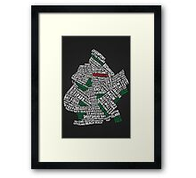 Brooklyn New York Typography Map Framed Print
