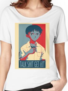 Shinji Ikari - Talk Shit Get Hit Women's Relaxed Fit T-Shirt