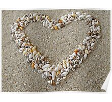 Heart arranged from Seashells Poster