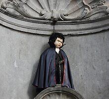 Manneken Pis in Brussels dressed as Dracula by kirilart