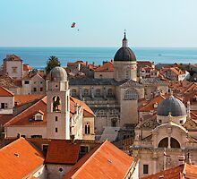Dubrovnik Old City Cathedral View with The Sea by kirilart
