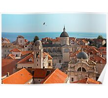 Dubrovnik Old City Cathedral View with The Sea Poster