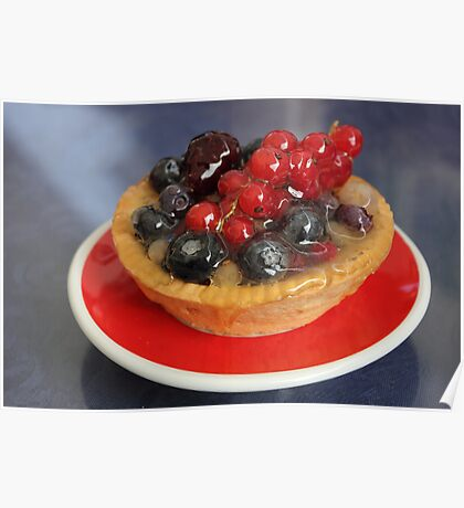 Red Currants Tartlet with red and black berries Poster