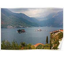 Panoramic view of Kotor Bay with the monastery Poster