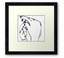 2 hands -(010413)- Digital art/mouse drawn/Program: The Scribbler Framed Print