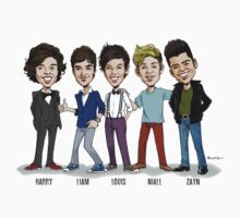 One Direction Caricature Tee! by Steve Panozzo