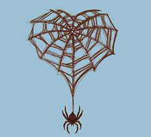 Spider Web Heart Womens Fitted T-Shirt