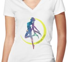 Sailor Moon Fight Like A Girl Silhouette Women's Fitted V-Neck T-Shirt