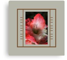 Red And White Gladiolus Flower With Design Canvas Print