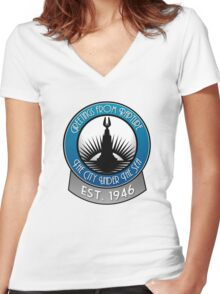 Bioshock Greetings from Rapture! Women's Fitted V-Neck T-Shirt