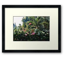 Palms + Pretty Pink Flowers Framed Print