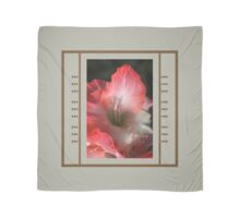 Red And White Gladiolus Flower With Design Scarf
