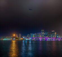 Miami Skyline with Goodyear Blimp by Dan Pham