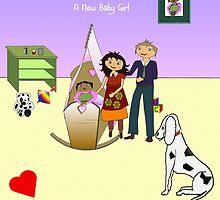 Congratulations! A new Baby Girl_Card by Elizabeth Cash von Engelbrechten