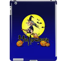 Halloween, witch on a broom, bats and pumpkins iPad Case/Skin