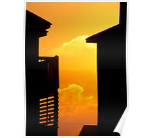 Sunset through Houses Poster