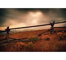 Fence Framing Teton Mountains Photographic Print