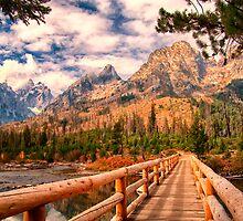 Across Bridge to Teton Mountains by KellyHeaton