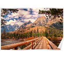 Across Bridge to Teton Mountains Poster