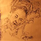 Mother asleep -(020413)- Black biro pen + A5 paper white by paulramnora