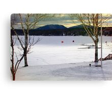 OverLooking the Lake During Ice Fishing Season Canvas Print