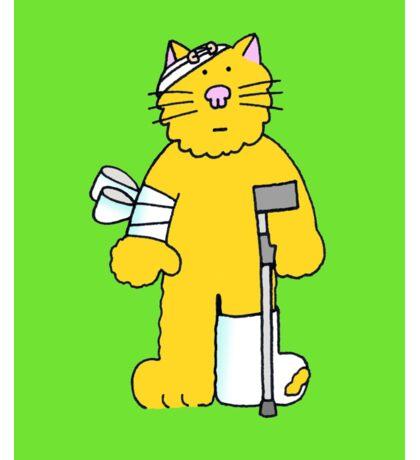 Get Well, cartoon ginger cat on a crutch. Sticker